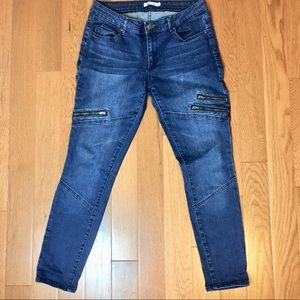 Just Fab Zipper Moto Skinny Jeans